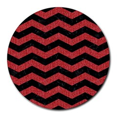 Chevron3 Black Marble & Red Denim Round Mousepads