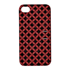 Circles3 Black Marble & Red Denim (r) Apple Iphone 4/4s Hardshell Case With Stand