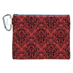 Damask1 Black Marble & Red Denim Canvas Cosmetic Bag (xxl)