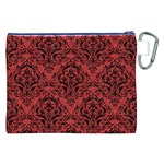 DAMASK1 BLACK MARBLE & RED DENIM Canvas Cosmetic Bag (XXL) Back