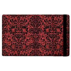Damask2 Black Marble & Red Denim Apple Ipad 3/4 Flip Case