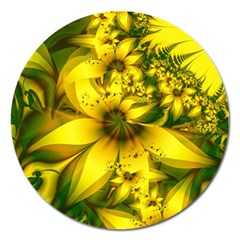 Beautiful Yellow Green Meadow Of Daffodil Flowers Magnet 5  (round)