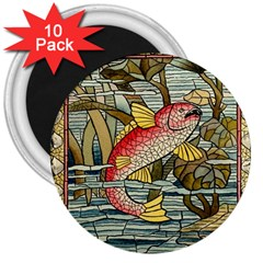 Fish Underwater Cubism Mosaic 3  Magnets (10 Pack)