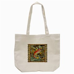 Fish Underwater Cubism Mosaic Tote Bag (cream)