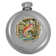 Fish Underwater Cubism Mosaic Round Hip Flask (5 Oz)