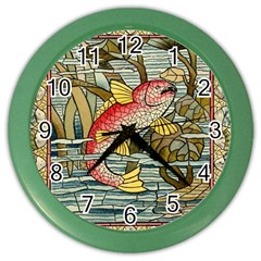Fish Underwater Cubism Mosaic Color Wall Clocks