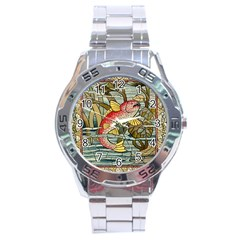 Fish Underwater Cubism Mosaic Stainless Steel Analogue Watch