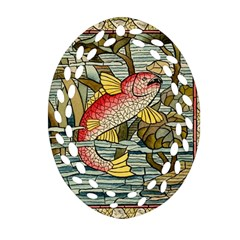 Fish Underwater Cubism Mosaic Oval Filigree Ornament (two Sides)