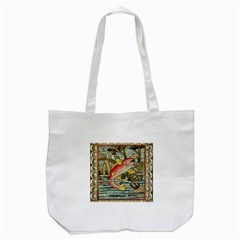 Fish Underwater Cubism Mosaic Tote Bag (white)
