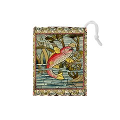 Fish Underwater Cubism Mosaic Drawstring Pouches (small)