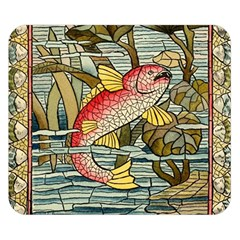 Fish Underwater Cubism Mosaic Double Sided Flano Blanket (small)