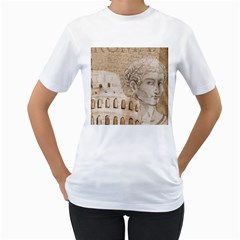 Colosseum Rome Caesar Background Women s T Shirt (white) (two Sided)