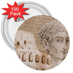 Colosseum Rome Caesar Background 3  Buttons (100 Pack)