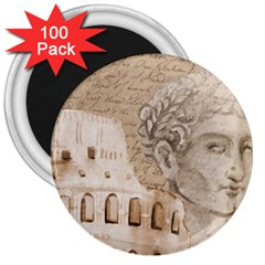Colosseum Rome Caesar Background 3  Magnets (100 Pack)