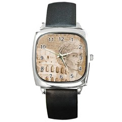 Colosseum Rome Caesar Background Square Metal Watch