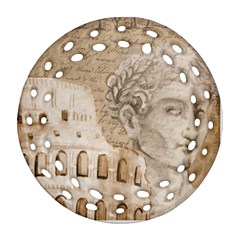 Colosseum Rome Caesar Background Round Filigree Ornament (two Sides)