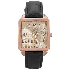 Colosseum Rome Caesar Background Rose Gold Leather Watch
