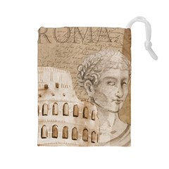 Colosseum Rome Caesar Background Drawstring Pouches (large)