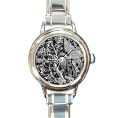 Black And White Pattern Texture Round Italian Charm Watch