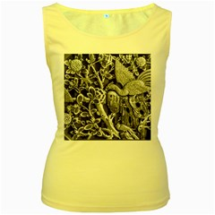 Black And White Pattern Texture Women s Yellow Tank Top