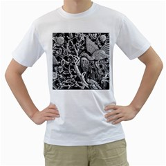 Black And White Pattern Texture Men s T Shirt (white) (two Sided)