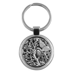 Black And White Pattern Texture Key Chains (round)