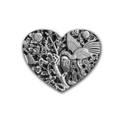 Black And White Pattern Texture Rubber Coaster (heart)