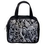 Black And White Pattern Texture Classic Handbags (One Side) Front