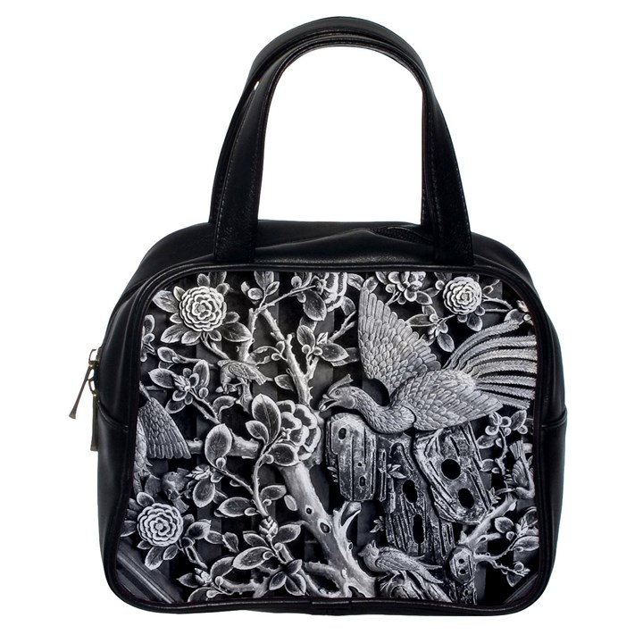 Black And White Pattern Texture Classic Handbags (One Side)