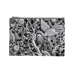 Black And White Pattern Texture Cosmetic Bag (large)
