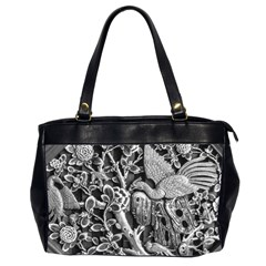 Black And White Pattern Texture Office Handbags (2 Sides)