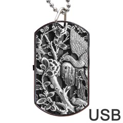 Black And White Pattern Texture Dog Tag Usb Flash (one Side)