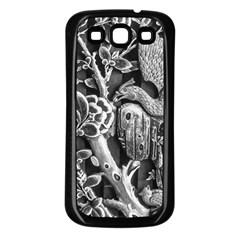 Black And White Pattern Texture Samsung Galaxy S3 Back Case (black)