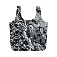 Black And White Pattern Texture Full Print Recycle Bags (m)