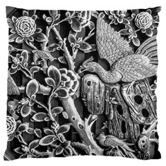 Black And White Pattern Texture Large Flano Cushion Case (one Side)