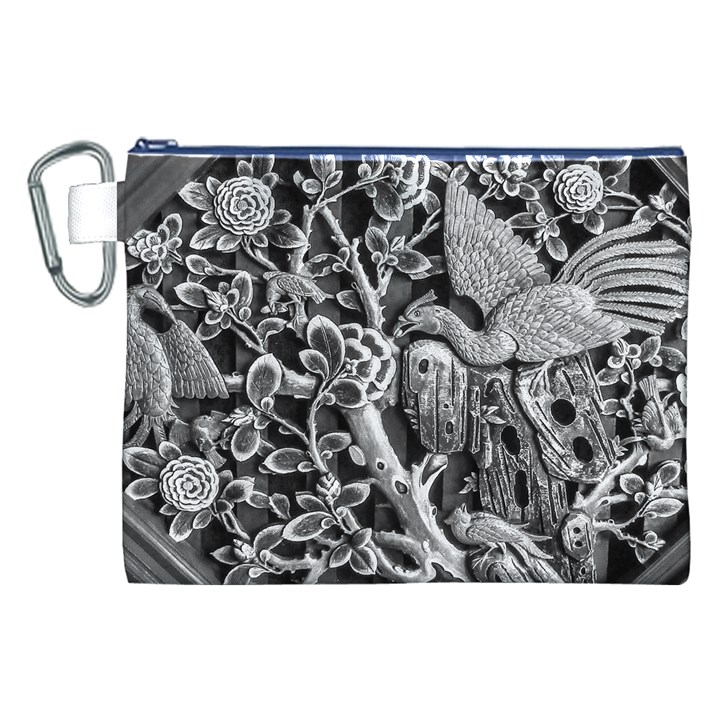 Black And White Pattern Texture Canvas Cosmetic Bag (XXL)