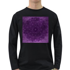 Background Purple Mandala Lilac Long Sleeve Dark T Shirts