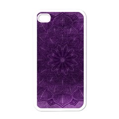 Background Purple Mandala Lilac Apple Iphone 4 Case (white)
