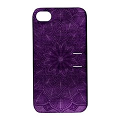 Background Purple Mandala Lilac Apple Iphone 4/4s Hardshell Case With Stand