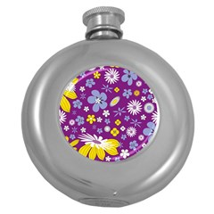Floral Flowers Round Hip Flask (5 Oz)