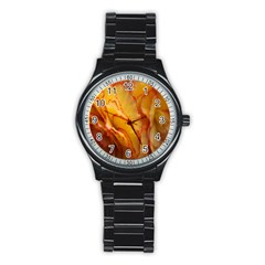 Flowers Leaves Leaf Floral Summer Stainless Steel Round Watch
