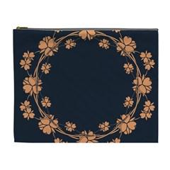 Floral Vintage Royal Frame Pattern Cosmetic Bag (xl)