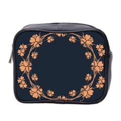 Floral Vintage Royal Frame Pattern Mini Toiletries Bag 2 Side