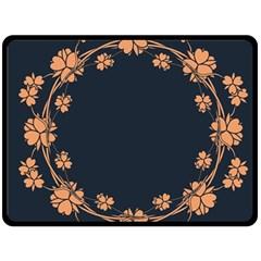 Floral Vintage Royal Frame Pattern Fleece Blanket (large)