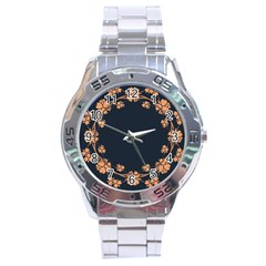 Floral Vintage Royal Frame Pattern Stainless Steel Analogue Watch
