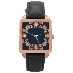 Floral Vintage Royal Frame Pattern Rose Gold Leather Watch