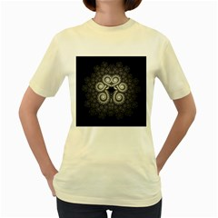 Fractal Filigree Lace Vintage Women s Yellow T Shirt