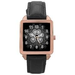 Fractal Filigree Lace Vintage Rose Gold Leather Watch