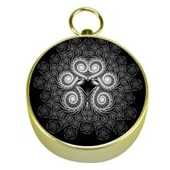 Fractal Filigree Lace Vintage Gold Compasses