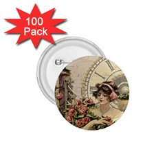 French Vintage Girl Roses Clock 1 75  Buttons (100 Pack)